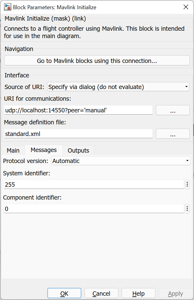 Mavlink Initialize :: QUARC Targets Library